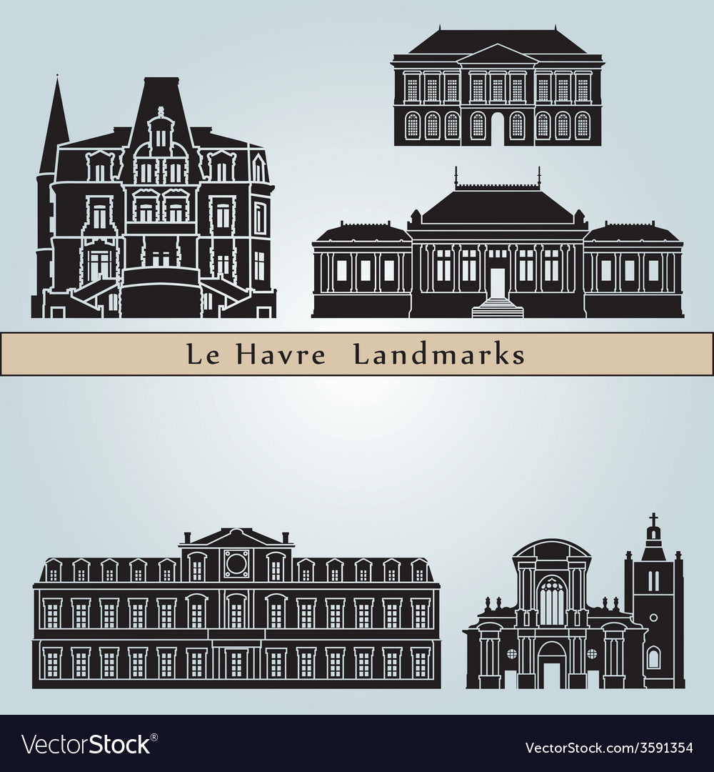 Le havre landmarks and monuments vector | Price: 1 Credit (USD $1)