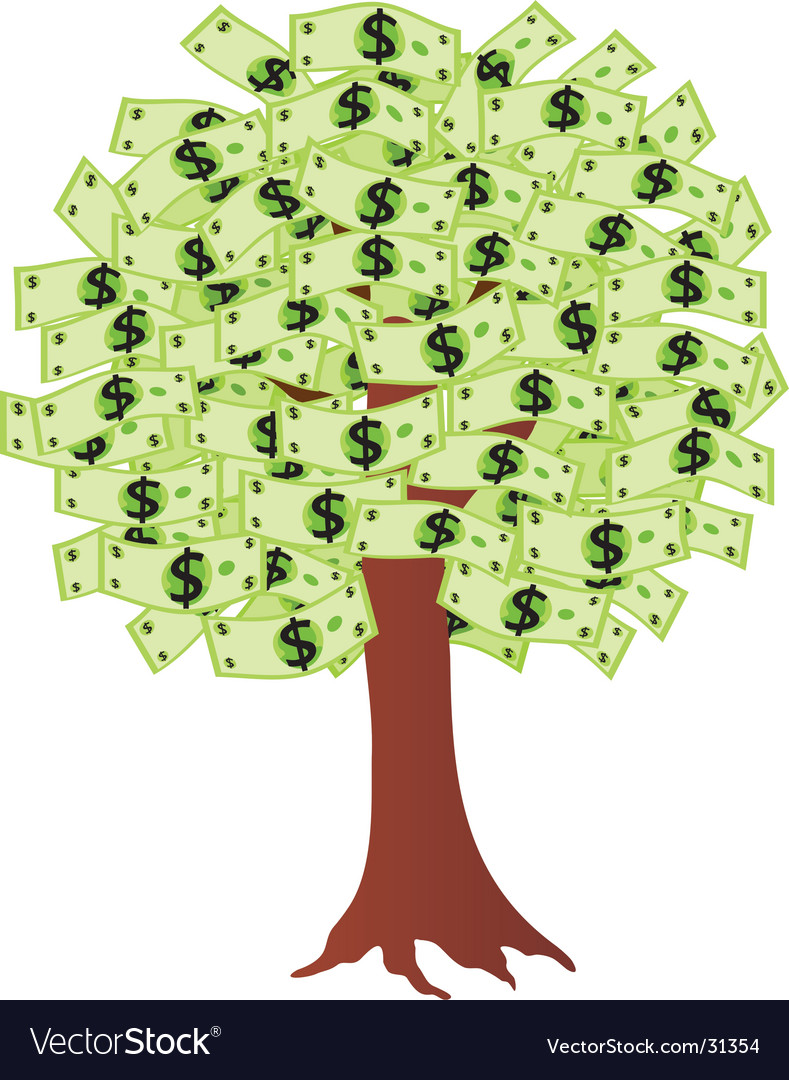 Money tree with dollars vector | Price: 1 Credit (USD $1)