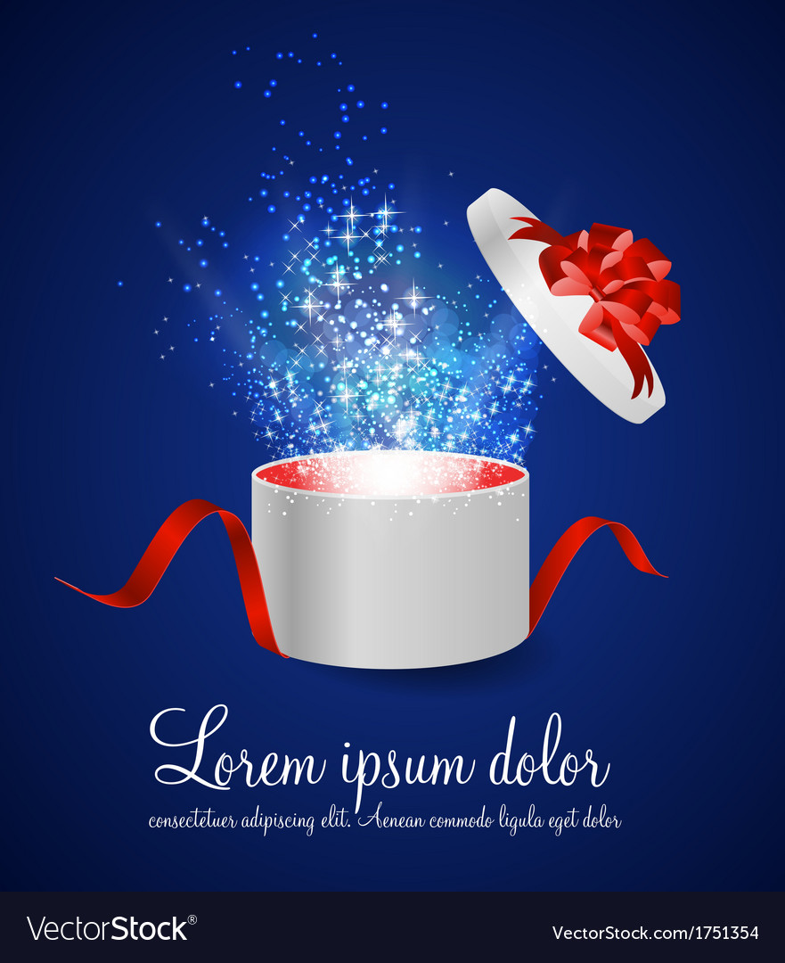 Open gift box with ribbon and magic light vector | Price: 1 Credit (USD $1)