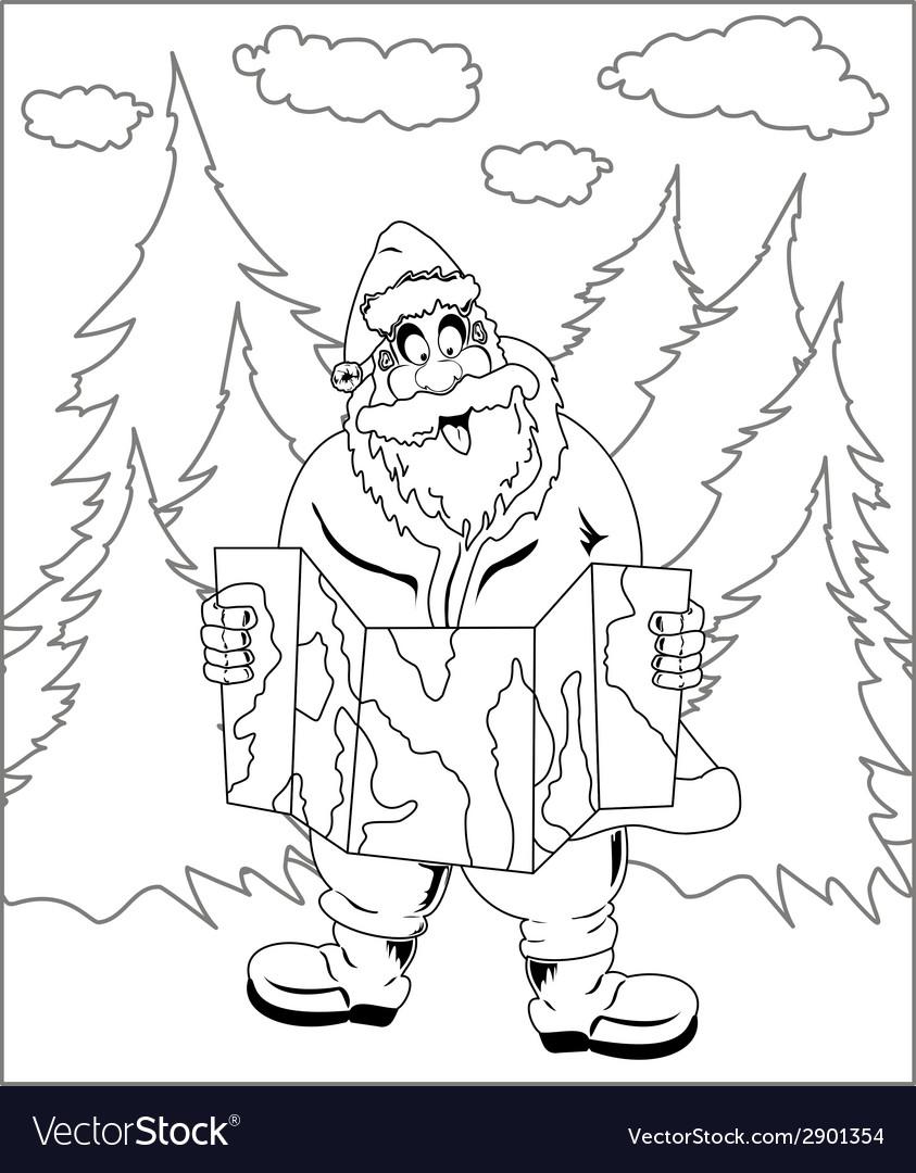 Santa claus reading map vector | Price: 1 Credit (USD $1)
