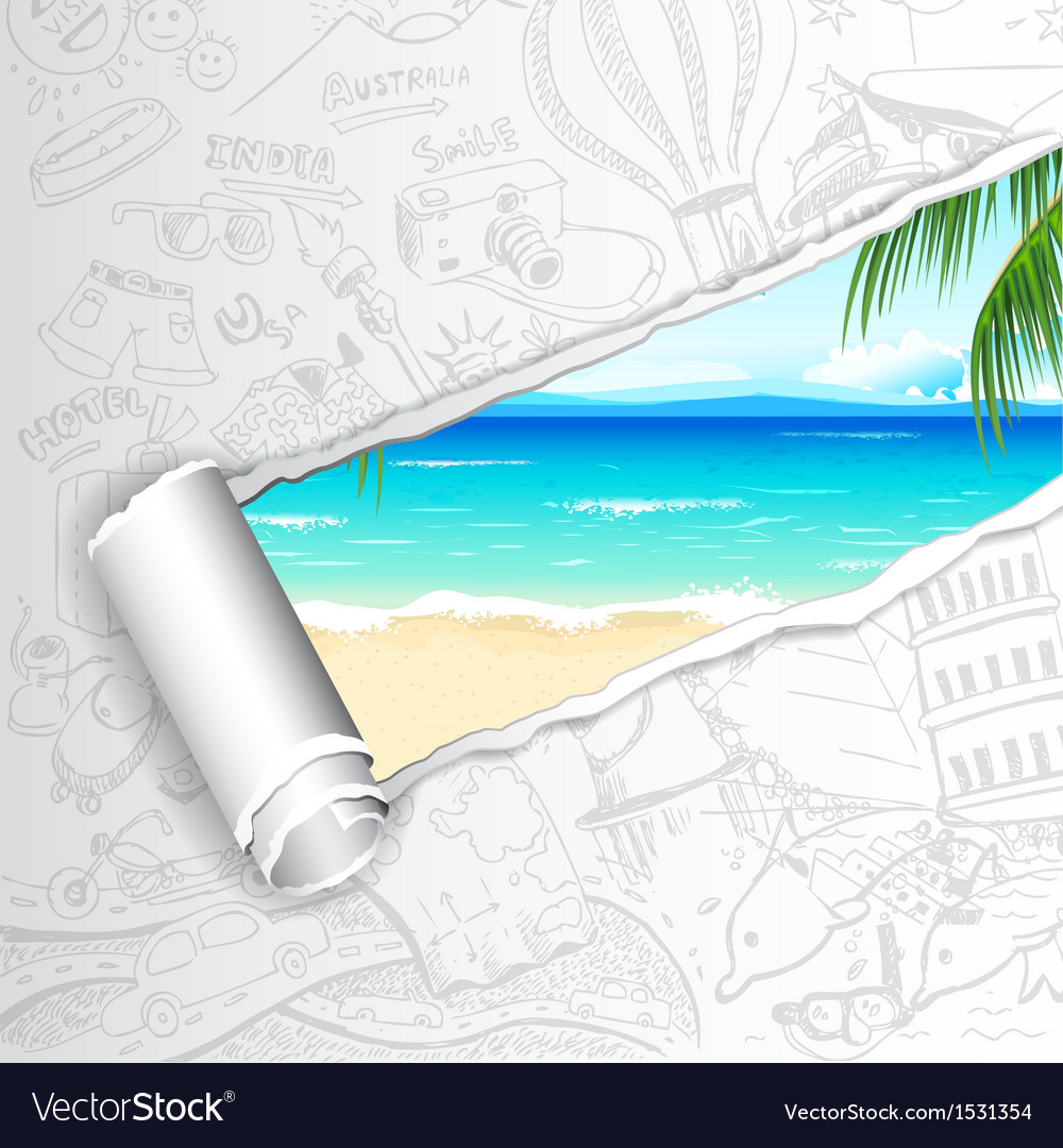 Travel background for sea beach vector | Price: 1 Credit (USD $1)