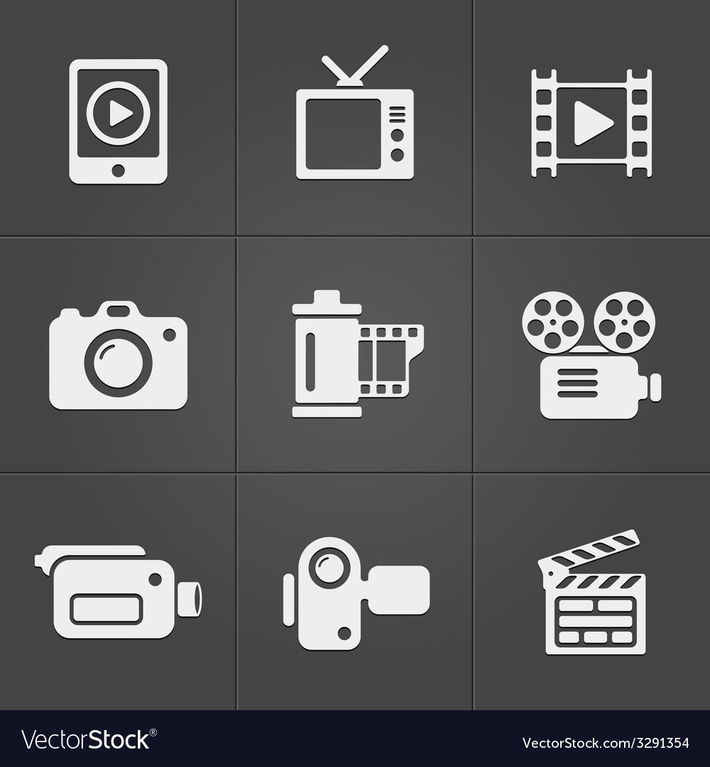 Video icons over black background vector | Price: 1 Credit (USD $1)