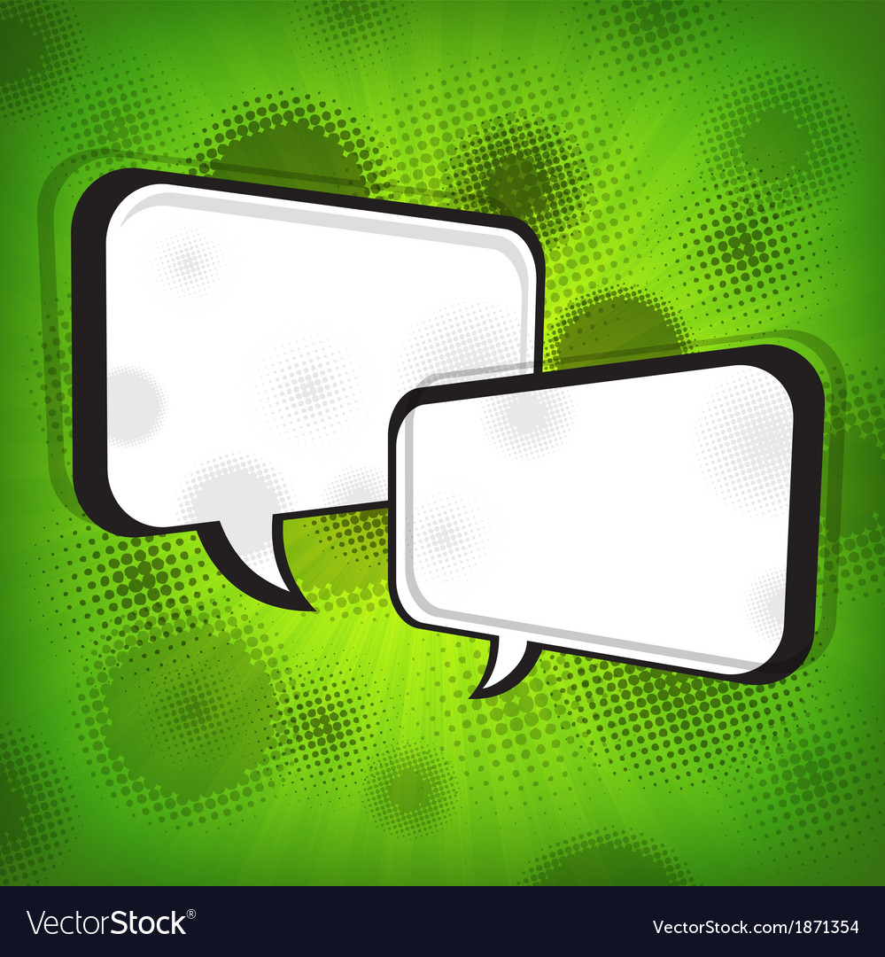 White speech bubbles on green vector | Price: 1 Credit (USD $1)