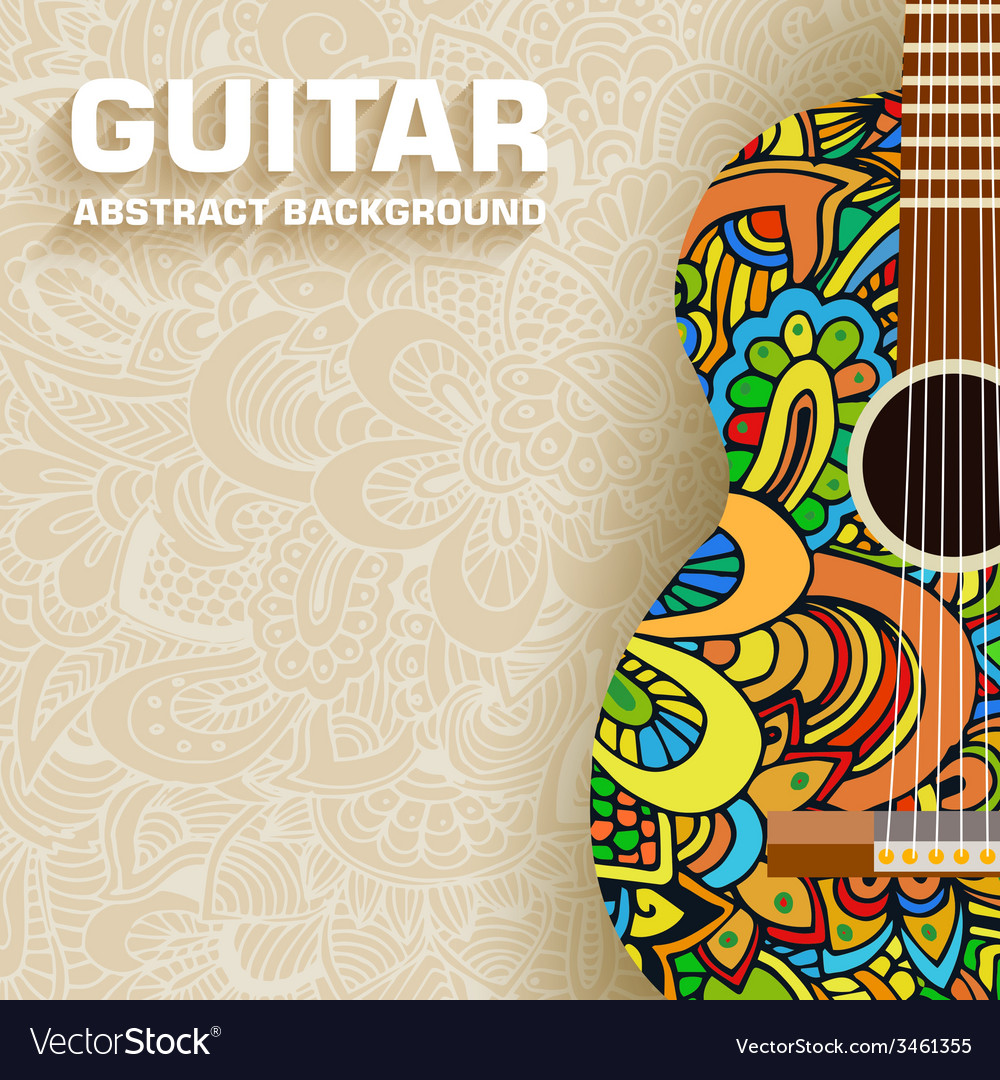 Abstract retro music guitar on the background of vector | Price: 1 Credit (USD $1)