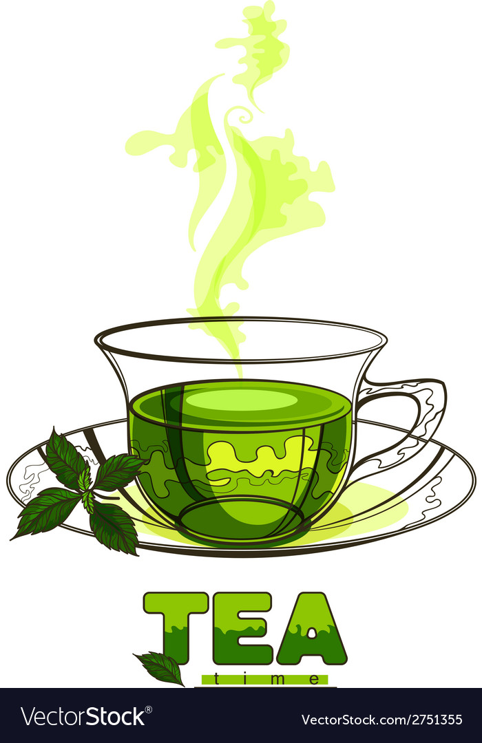 Cup of green tea with mint leaves vector | Price: 1 Credit (USD $1)