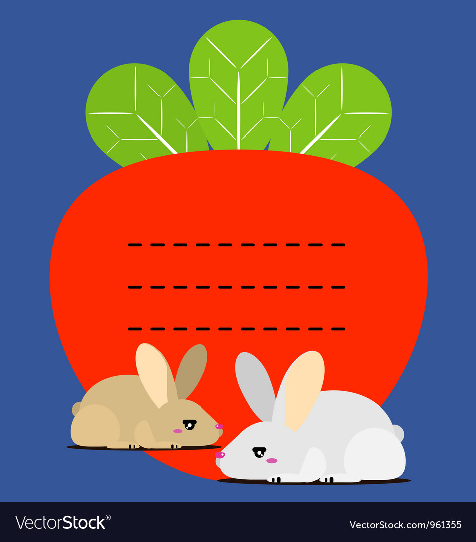 Cute little bunny and carrots recipe note vector | Price: 1 Credit (USD $1)