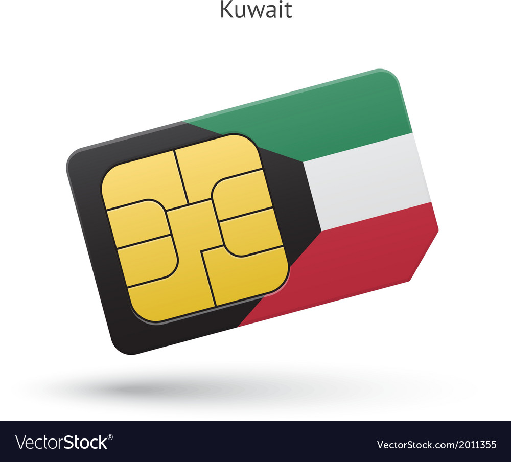 Kuwait mobile phone sim card with flag vector | Price: 1 Credit (USD $1)