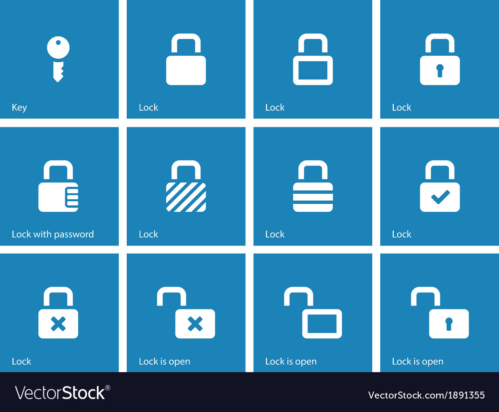 Locks icons on blue background vector | Price: 1 Credit (USD $1)