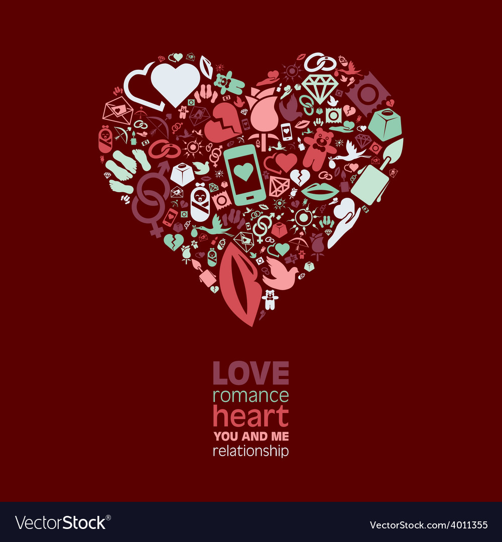 Love icons in heart vector | Price: 1 Credit (USD $1)