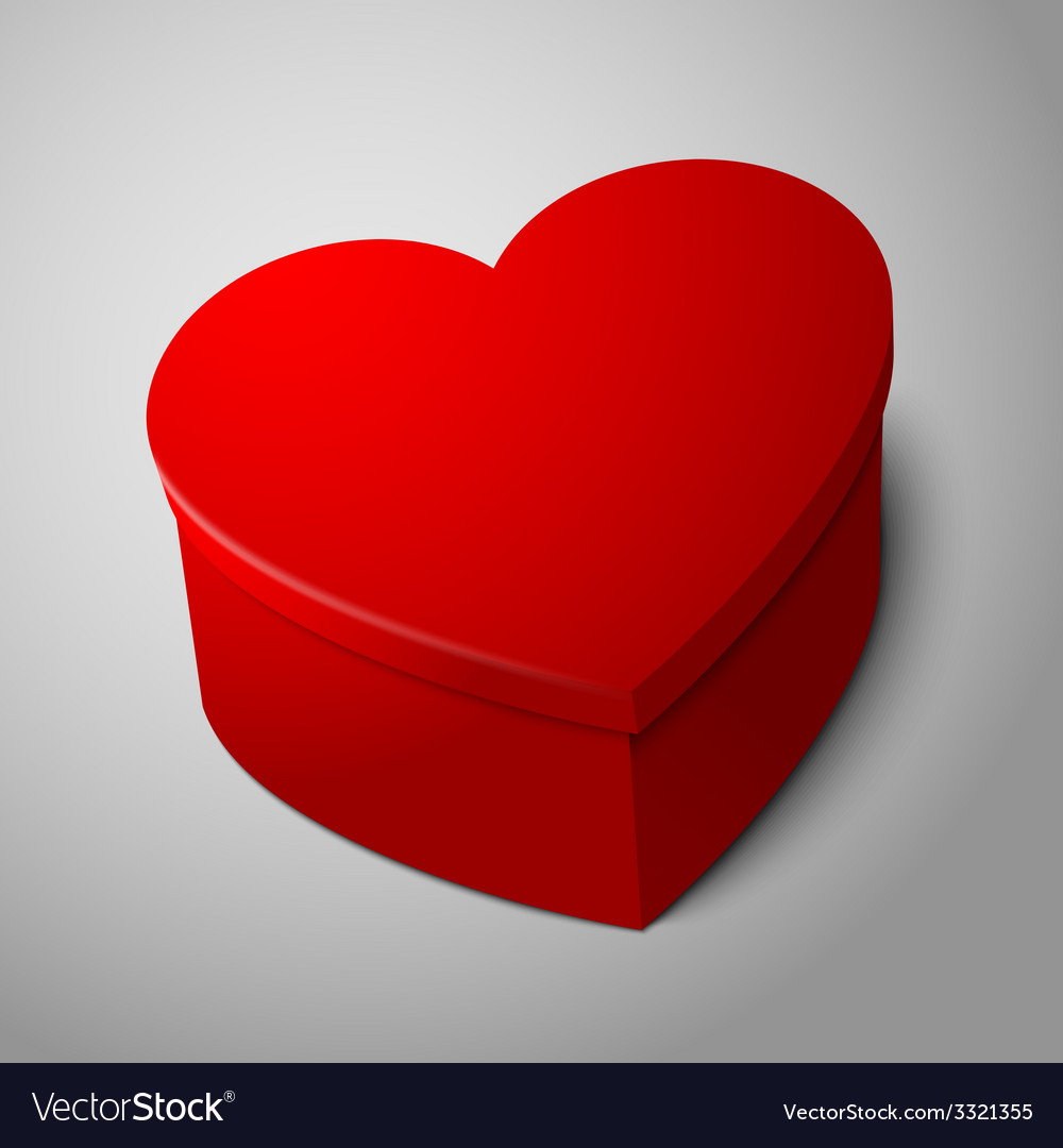 Realistic blank big bright red heart shape box vector | Price: 1 Credit (USD $1)