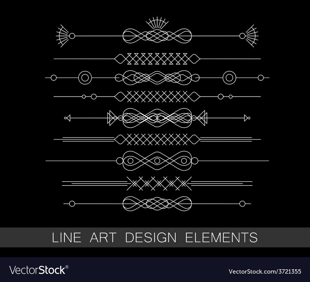 Set of line art border elements for design vector | Price: 1 Credit (USD $1)
