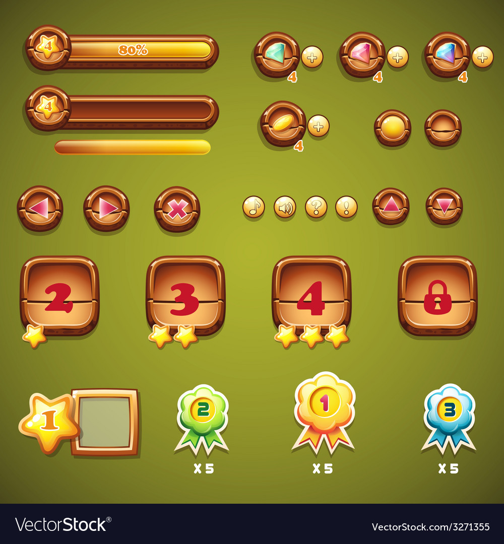 Set of wooden buttons progress bars and other vector | Price: 1 Credit (USD $1)
