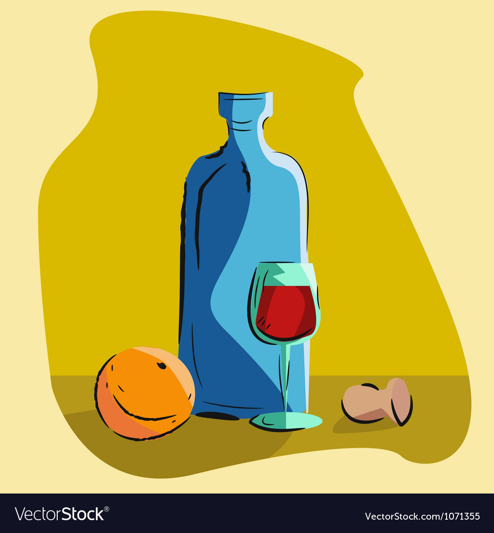 Still life with a bottle of wine vector | Price: 1 Credit (USD $1)