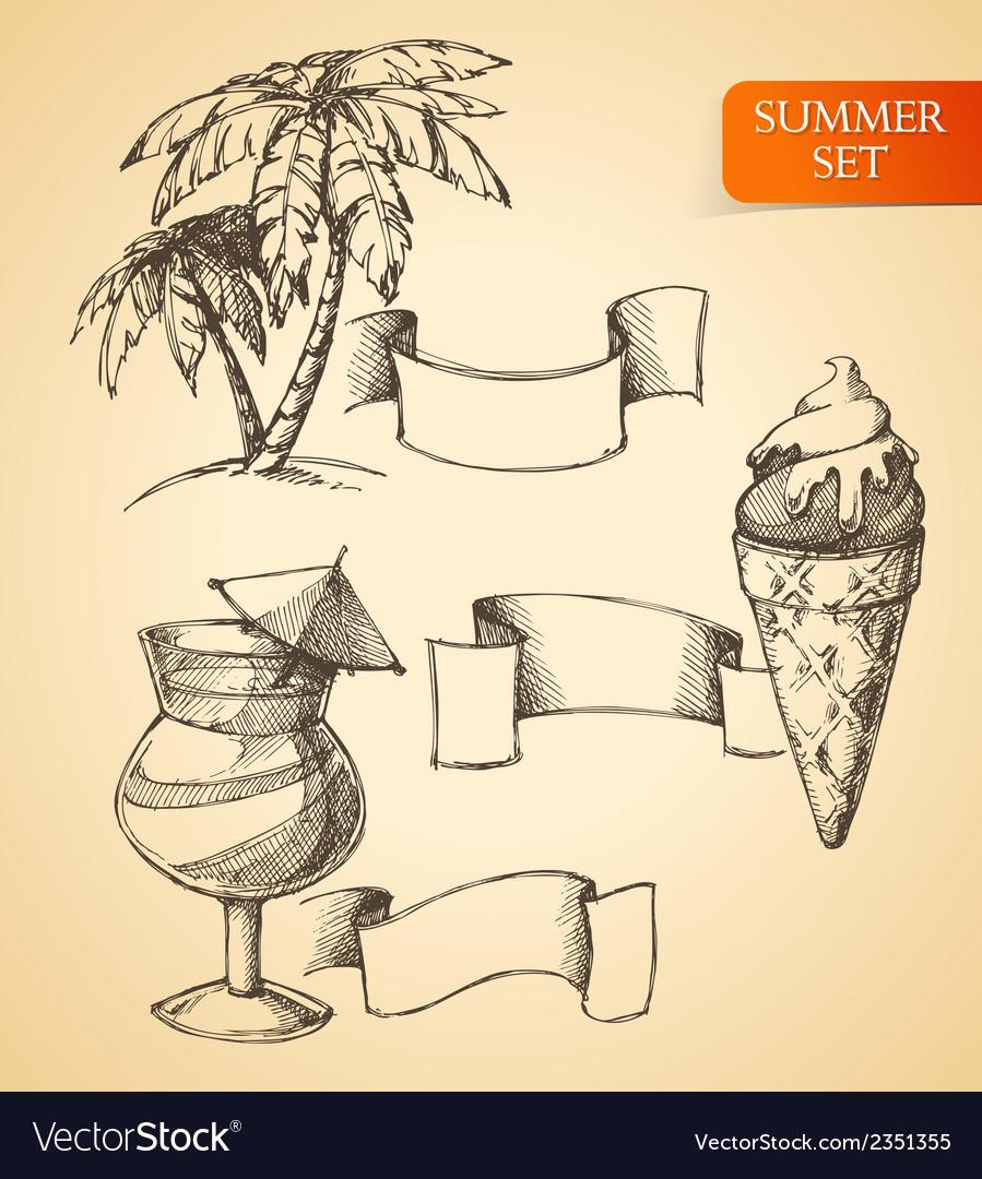Summer sketch set vector | Price: 1 Credit (USD $1)