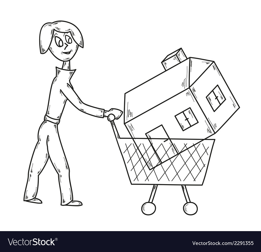 Woman and house vector | Price: 1 Credit (USD $1)