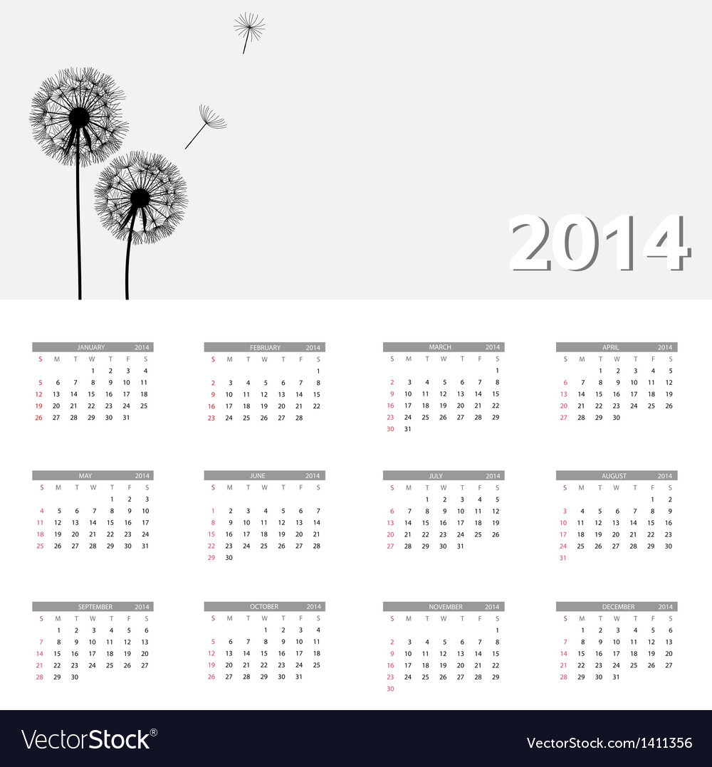 2014 new year calendar vector | Price: 1 Credit (USD $1)