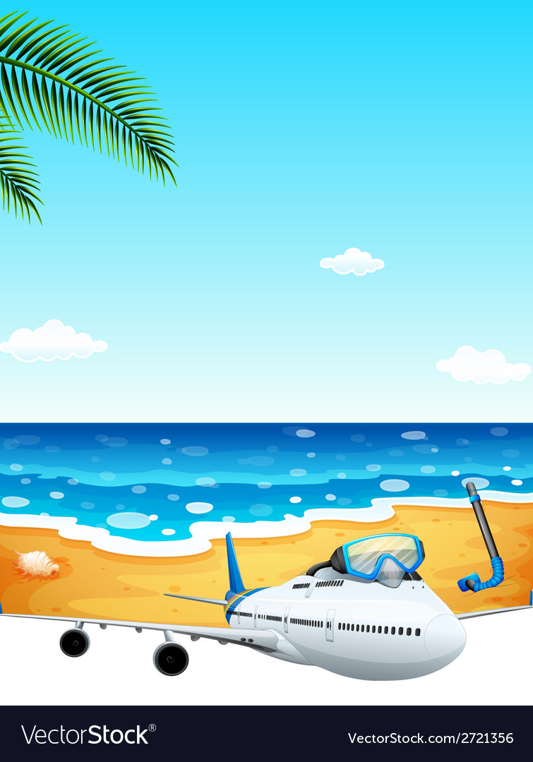 A passenger plane at the beach vector | Price: 1 Credit (USD $1)