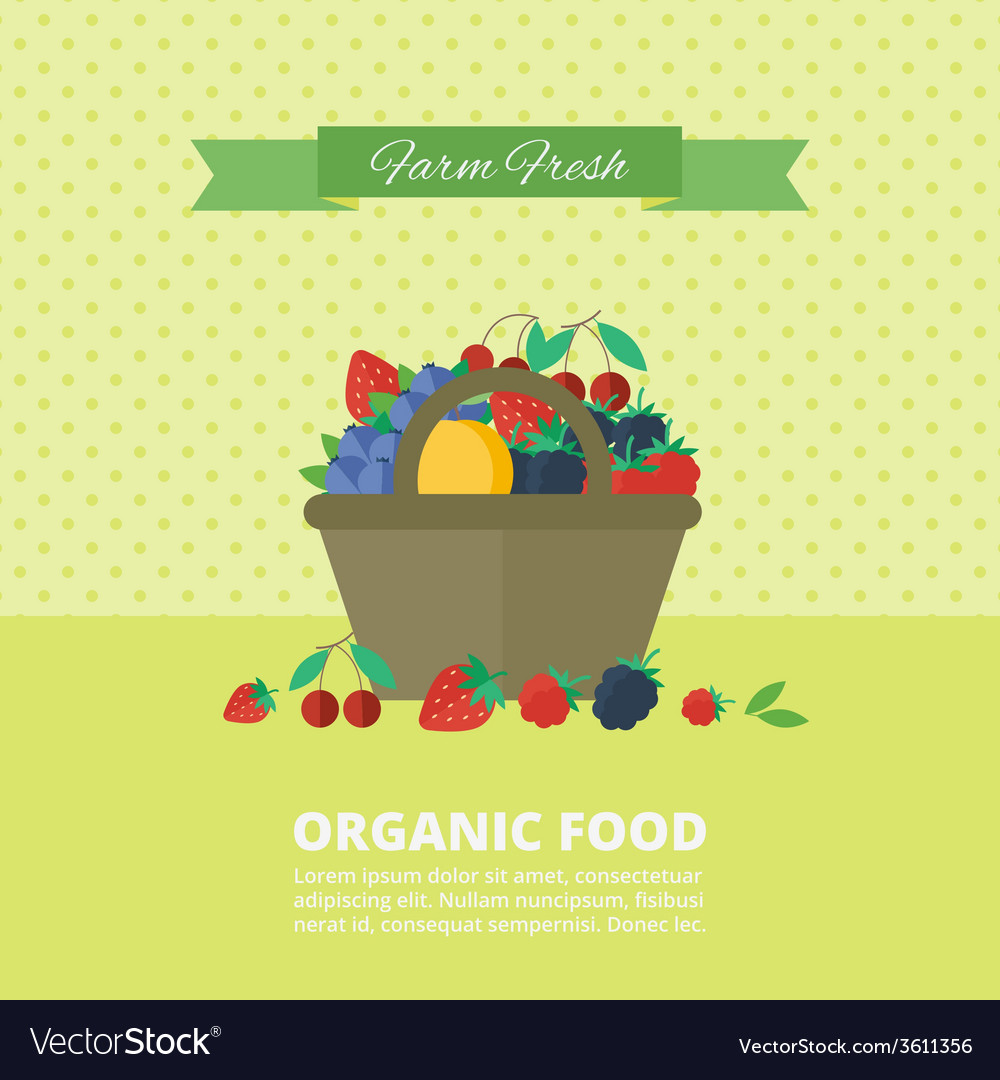 Banner with fresh berries and fruits concept vector | Price: 1 Credit (USD $1)