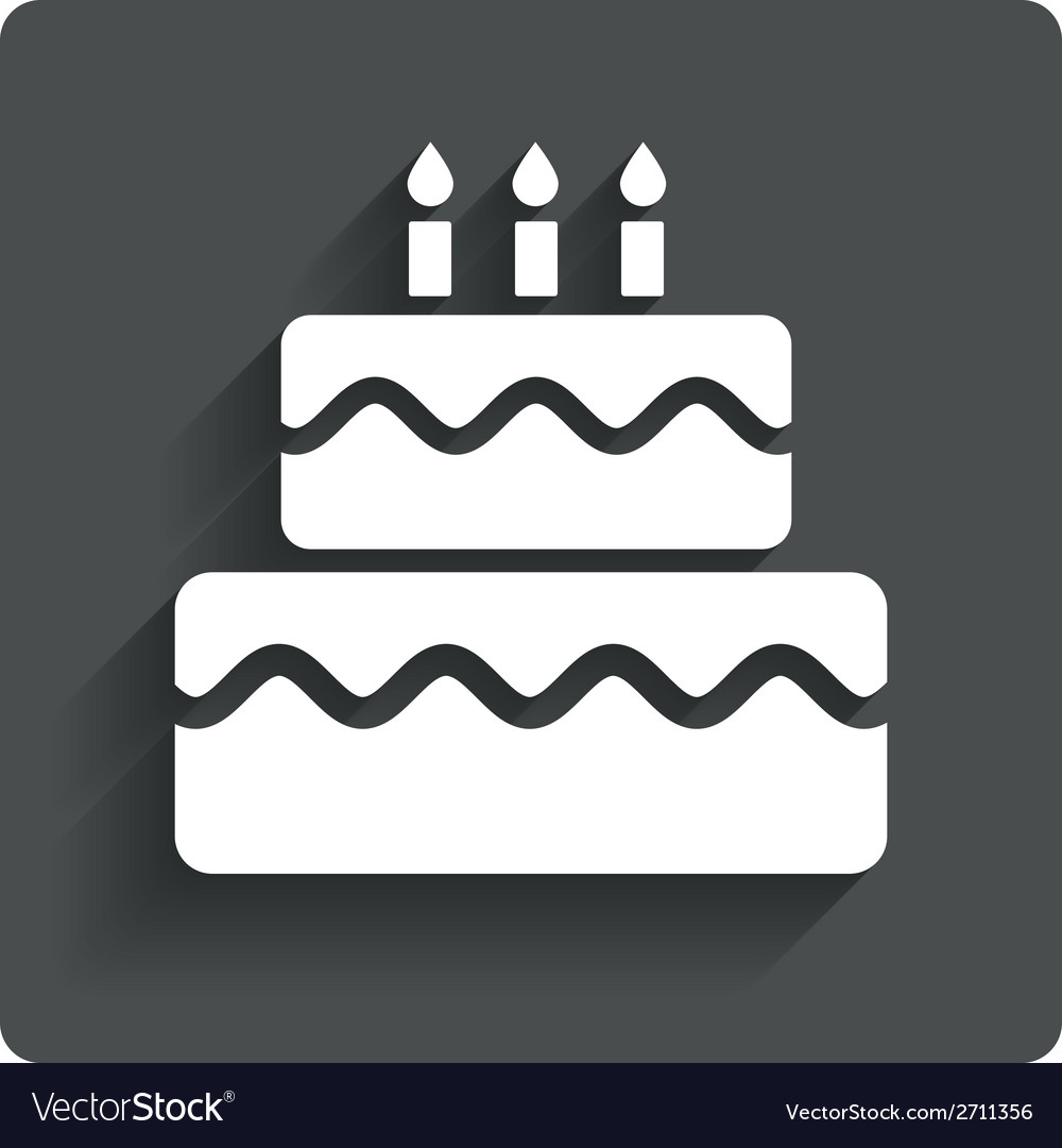 Birthday cake sign icon burning candles symbol vector | Price: 1 Credit (USD $1)