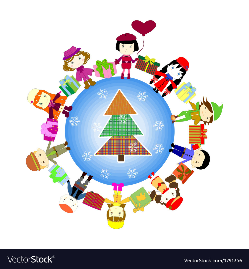Christmas kids background children in planet vector | Price: 1 Credit (USD $1)
