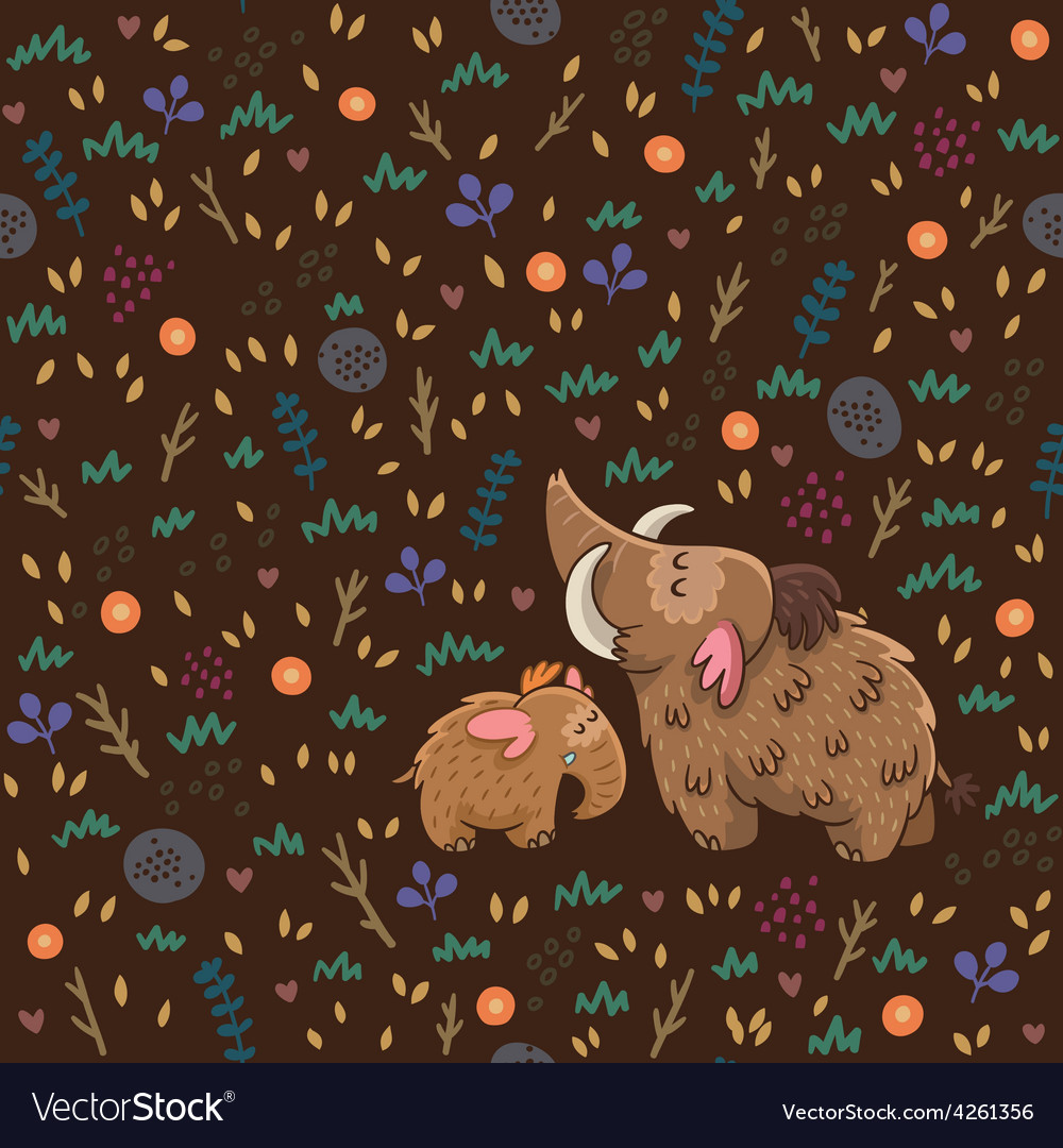 Cute floral seamless pattern with mammoths vector | Price: 1 Credit (USD $1)