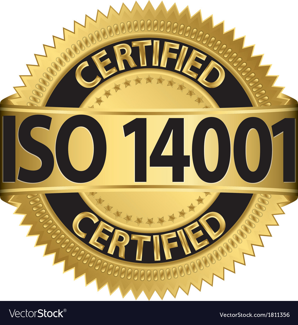 Iso 14001 certified golden label vector | Price: 1 Credit (USD $1)