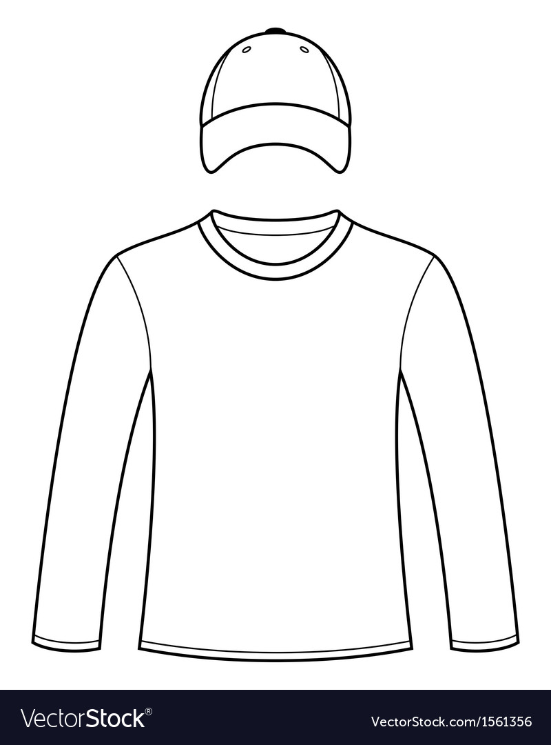 Long-sleeved t-shirt and cap template vector | Price: 1 Credit (USD $1)
