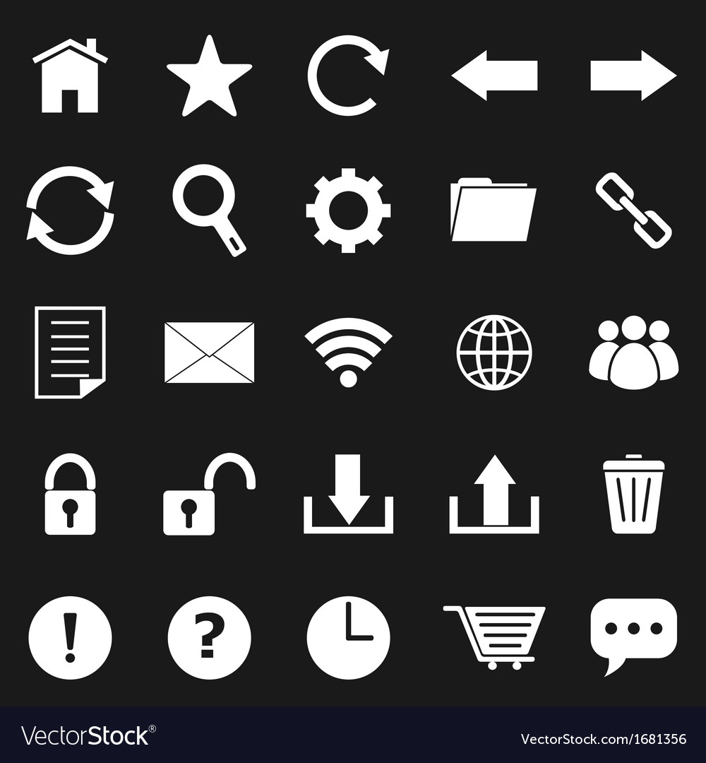 Tool bar icons on black background vector | Price: 1 Credit (USD $1)
