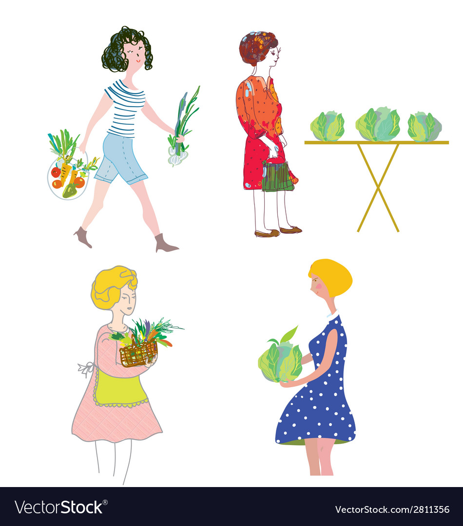 Women with vegetables shopping vector | Price: 1 Credit (USD $1)