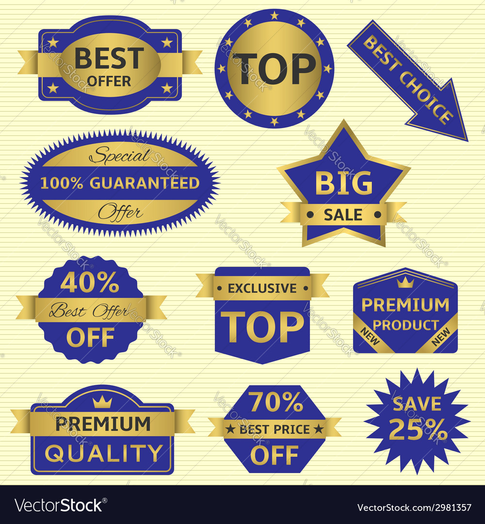 Blue labels with golden frames vector | Price: 1 Credit (USD $1)