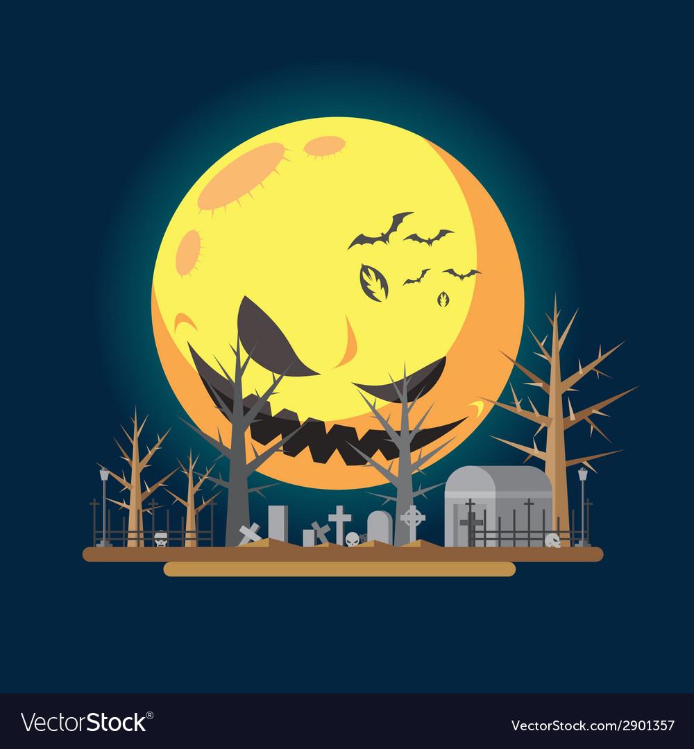 Flat design halloween graveyard vector   Price: 1 Credit (USD $1)