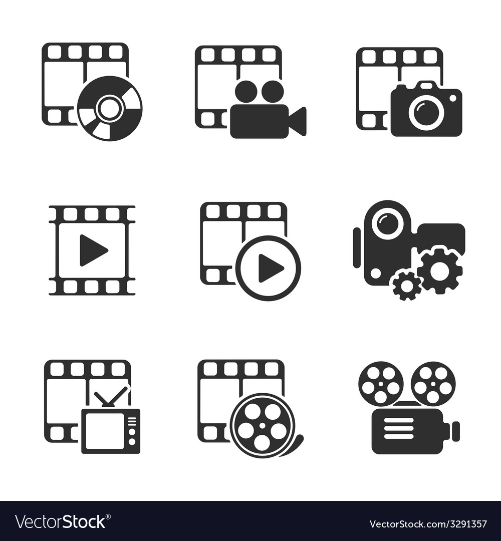 Media icon pack on white elements vector | Price: 1 Credit (USD $1)
