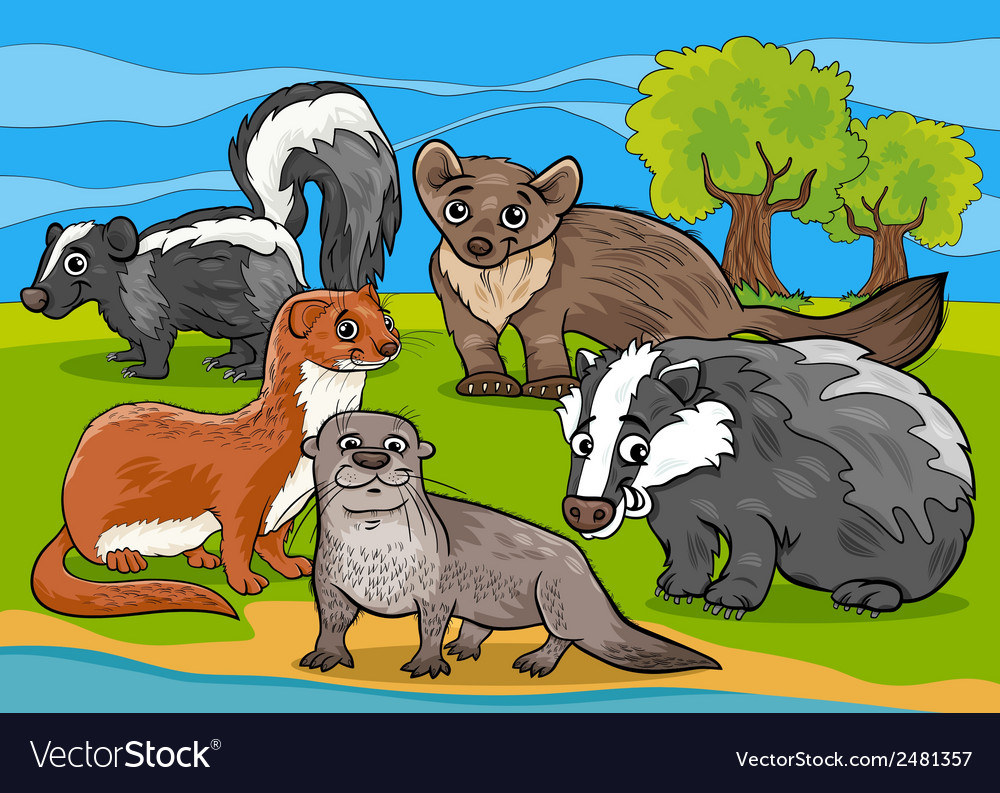 Mustelids animals cartoon vector | Price: 1 Credit (USD $1)