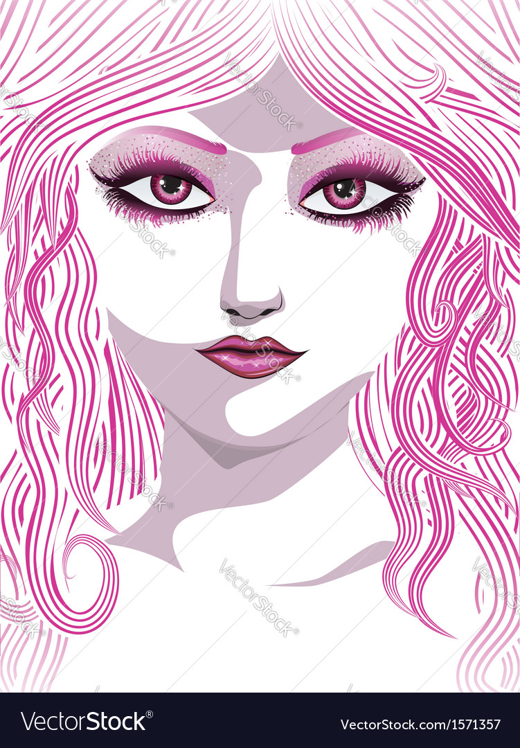 Pink girl face vector | Price: 1 Credit (USD $1)