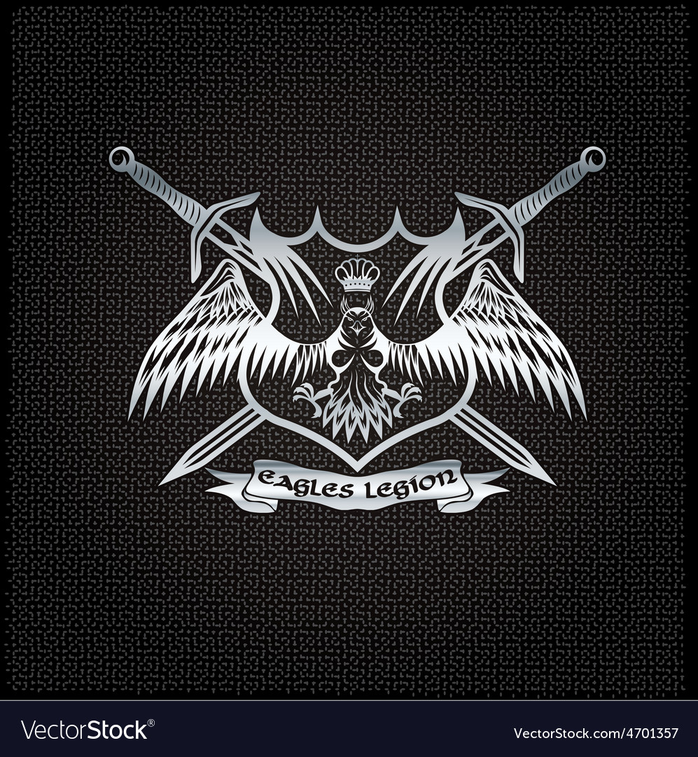 Silver eagle with crown and swords crest on metal vector   Price: 1 Credit (USD $1)