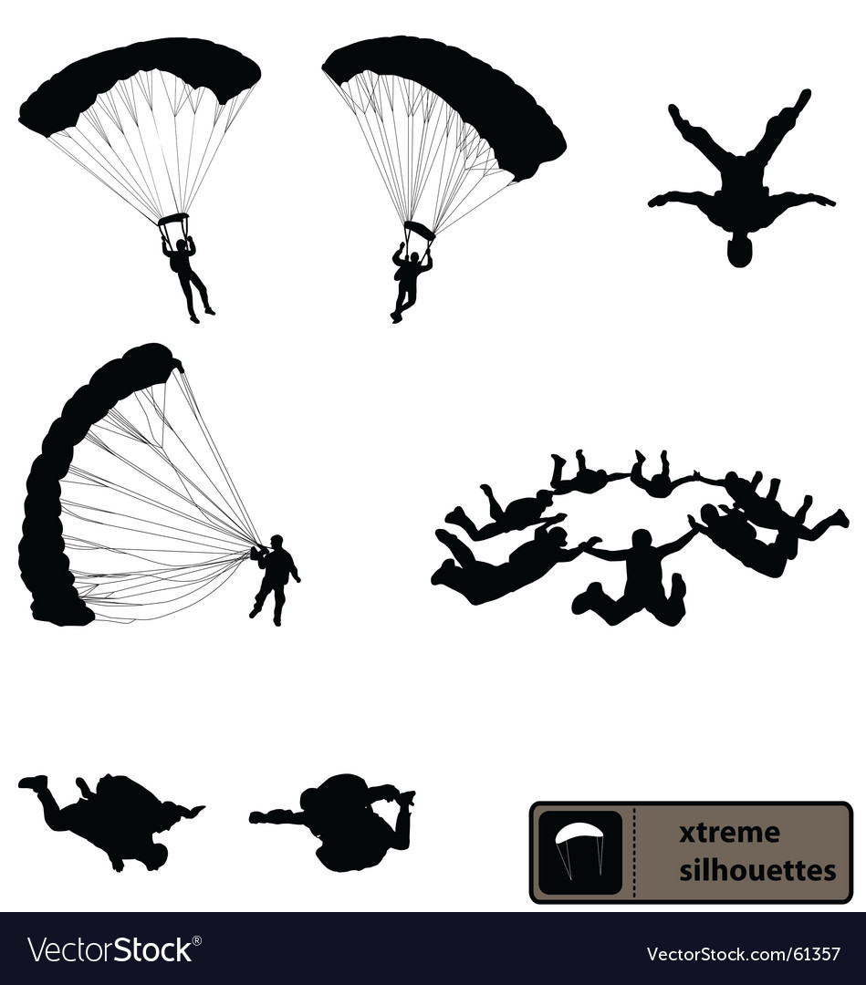 Skydiving silhouettes vector | Price: 1 Credit (USD $1)