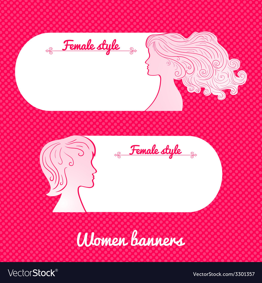 Two beautiful female romantic banner vector | Price: 1 Credit (USD $1)