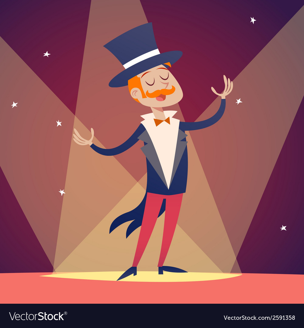 Circus show host boy man in suit with cylinder hat vector | Price: 1 Credit (USD $1)
