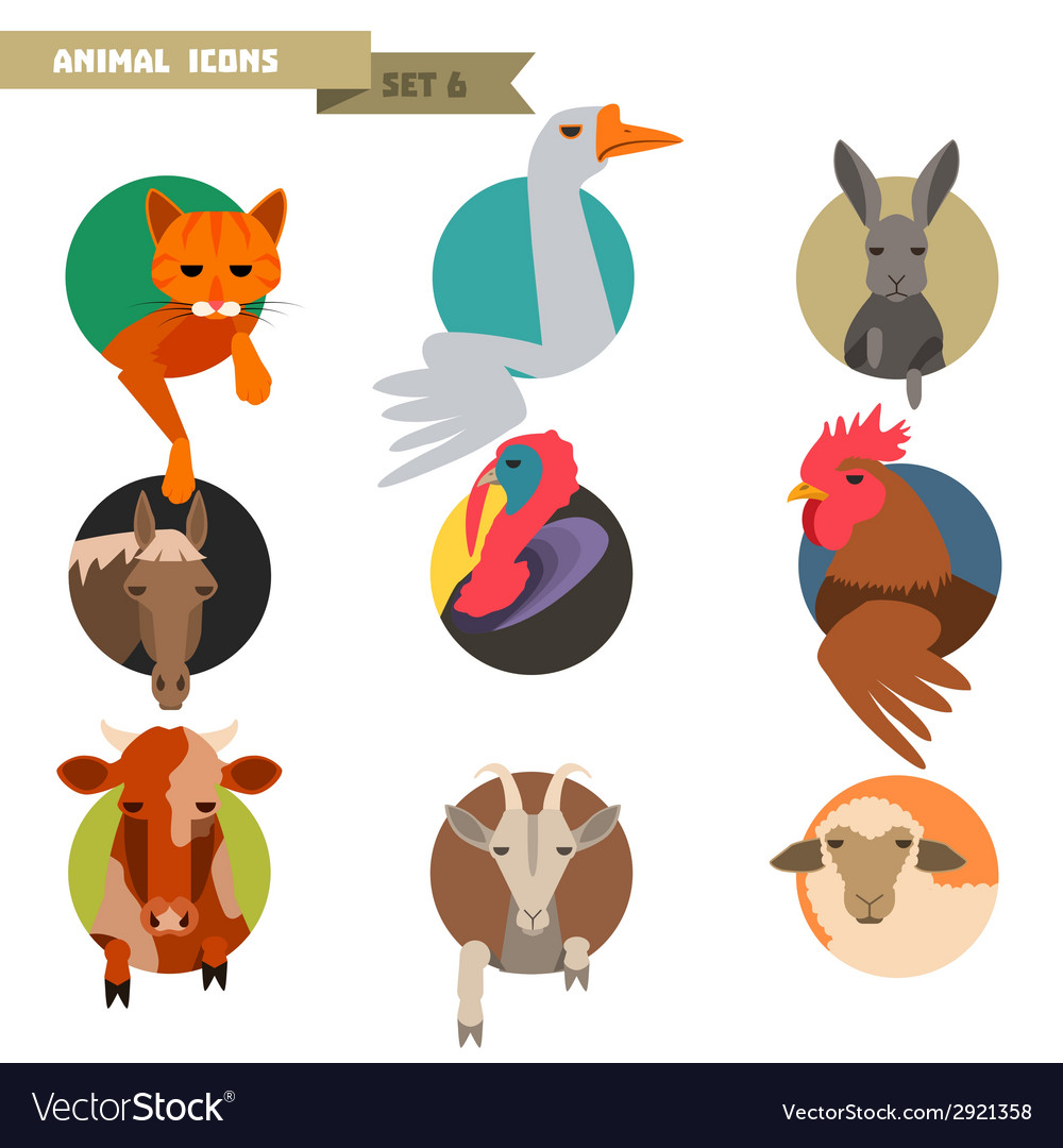 Farm animals avatars vector | Price: 1 Credit (USD $1)