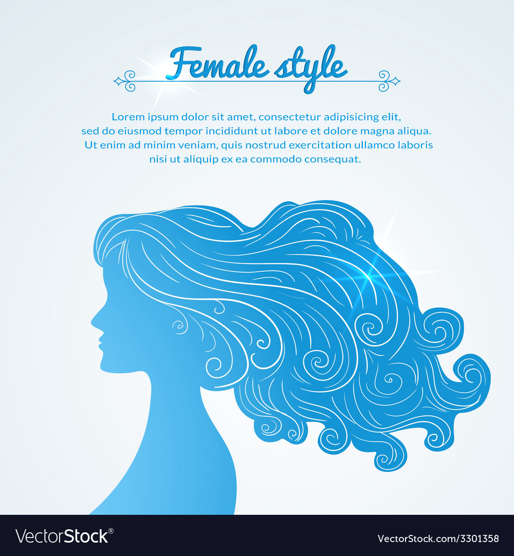 Female profile with long hair and space for text vector | Price: 1 Credit (USD $1)