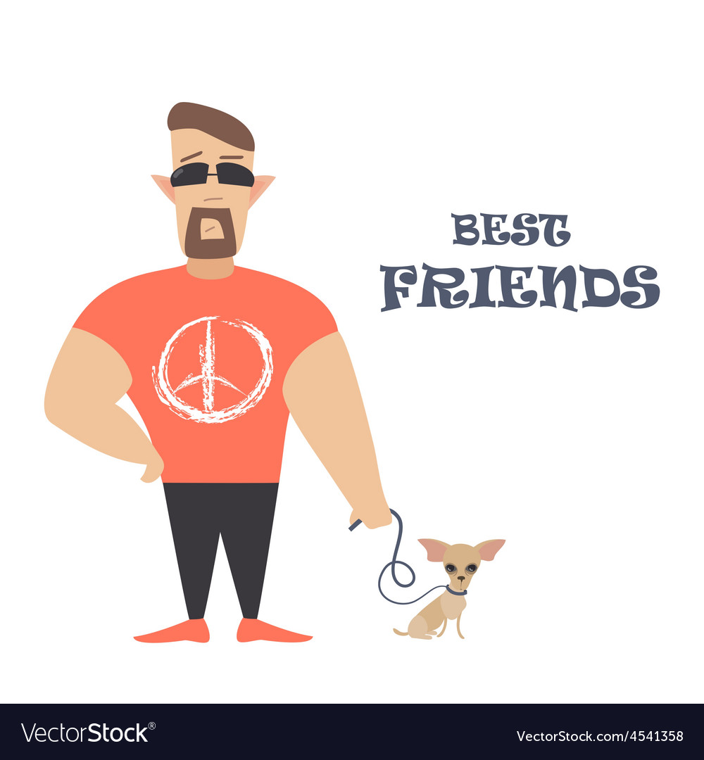 Funny dog with owner vector | Price: 1 Credit (USD $1)