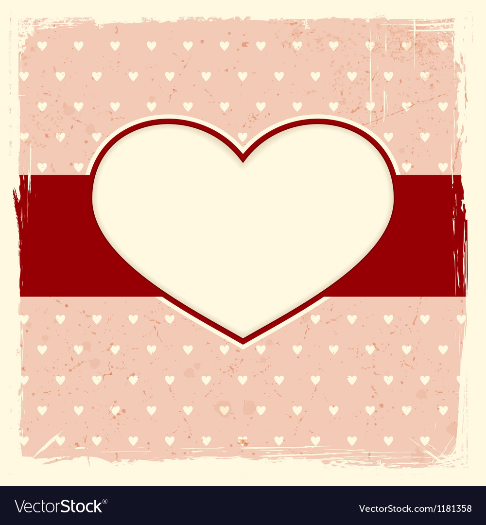 Grunge background with heart frame vector | Price: 1 Credit (USD $1)
