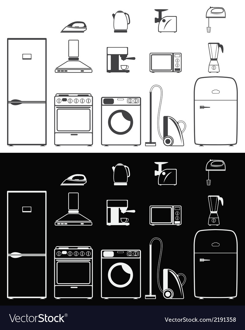 Icons of household appliances vector | Price: 1 Credit (USD $1)