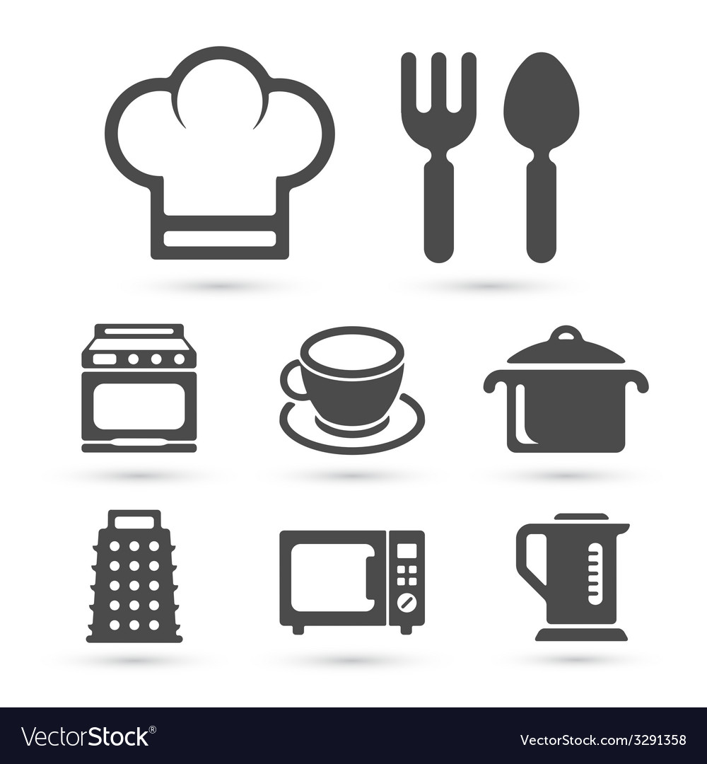 Kitchen cooking icons isolated on white vector | Price: 1 Credit (USD $1)