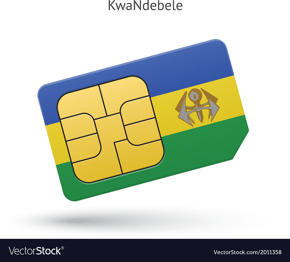 Kwandebele mobile phone sim card with flag vector | Price: 1 Credit (USD $1)
