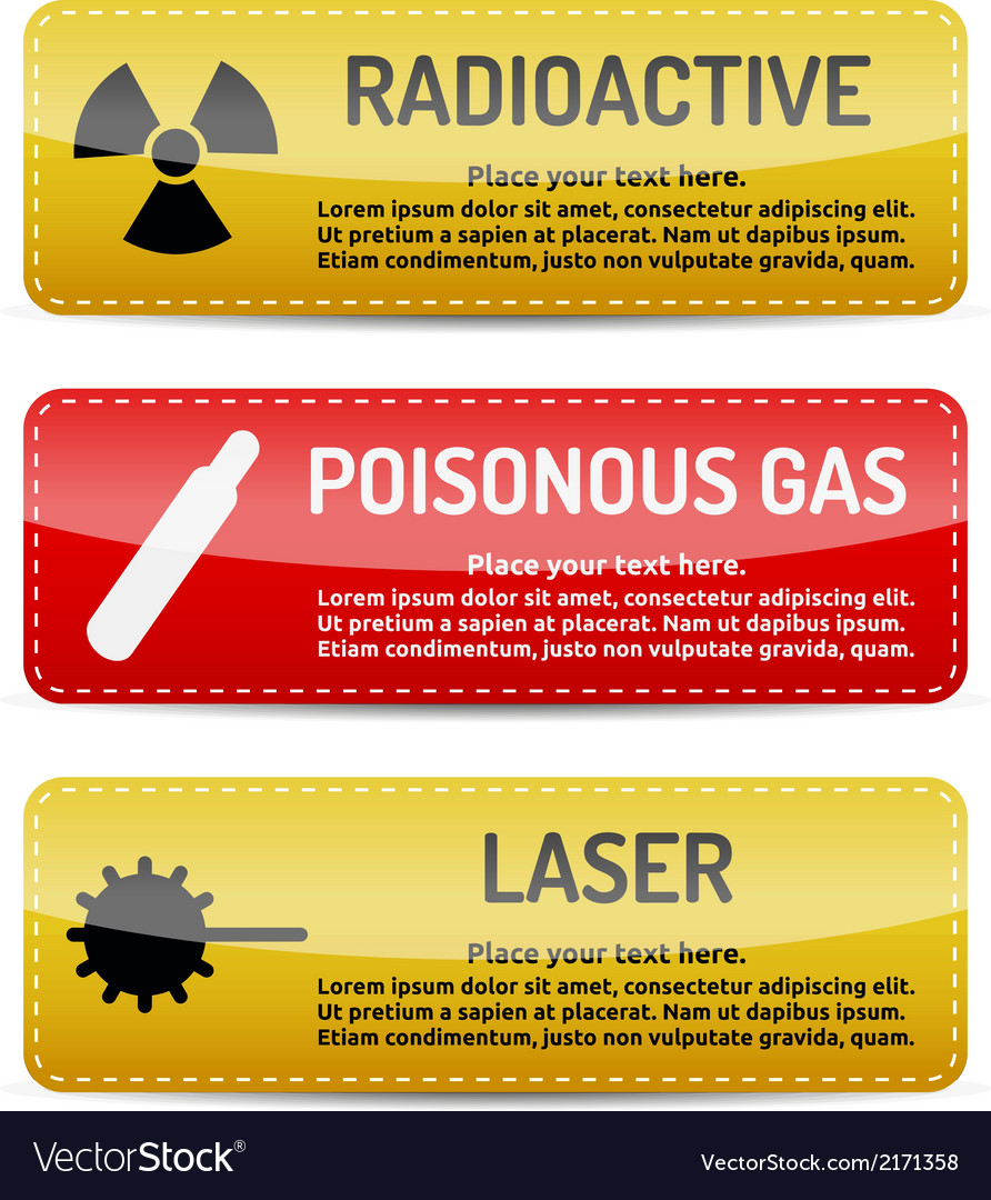 Radioactive poisonous gas laser - danger sign set vector | Price: 1 Credit (USD $1)
