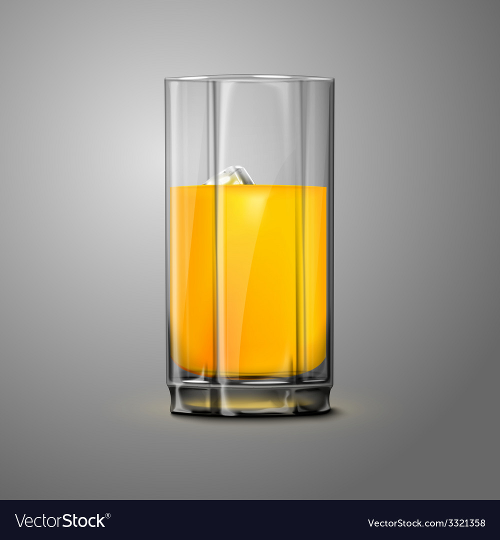 Realistic orange juice glass with ice transparent vector | Price: 1 Credit (USD $1)