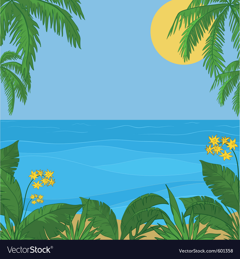 Sea sun sky foliage and flowers vector | Price: 1 Credit (USD $1)