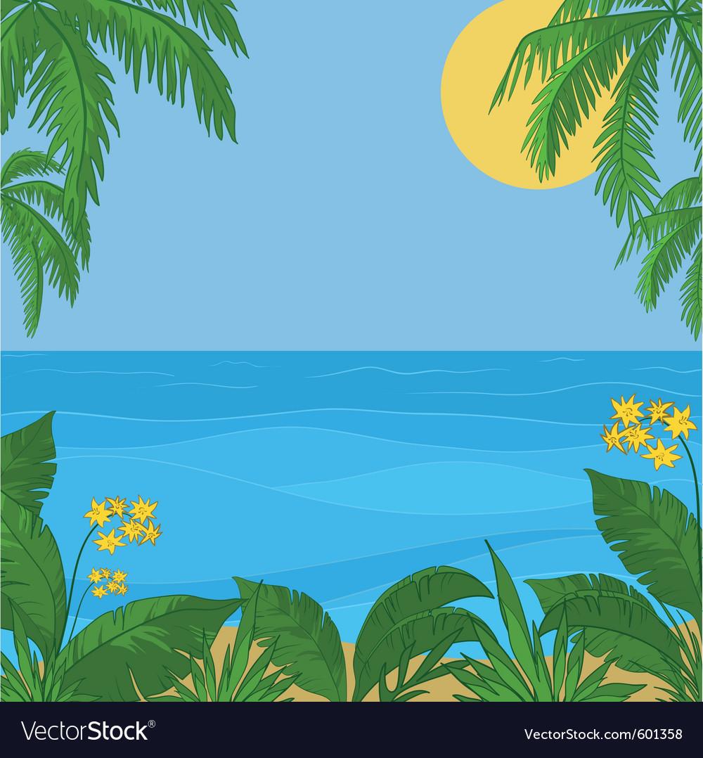 Sea sun sky foliage and flowers vector | Price: 1 Credit (USD $1)
