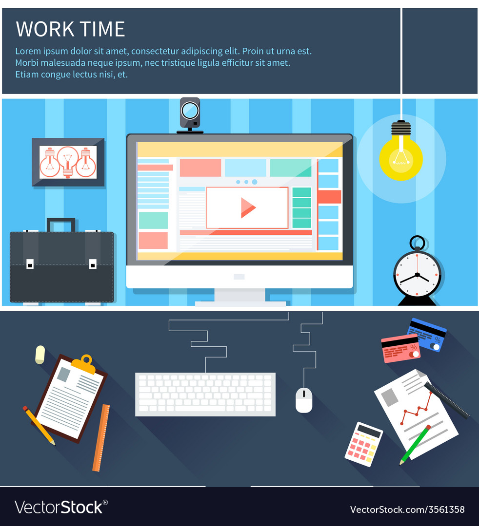 Time to work and process vector | Price: 1 Credit (USD $1)